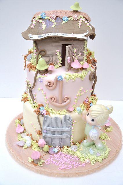 Beautiful three tier little girls fairy house birthday cake