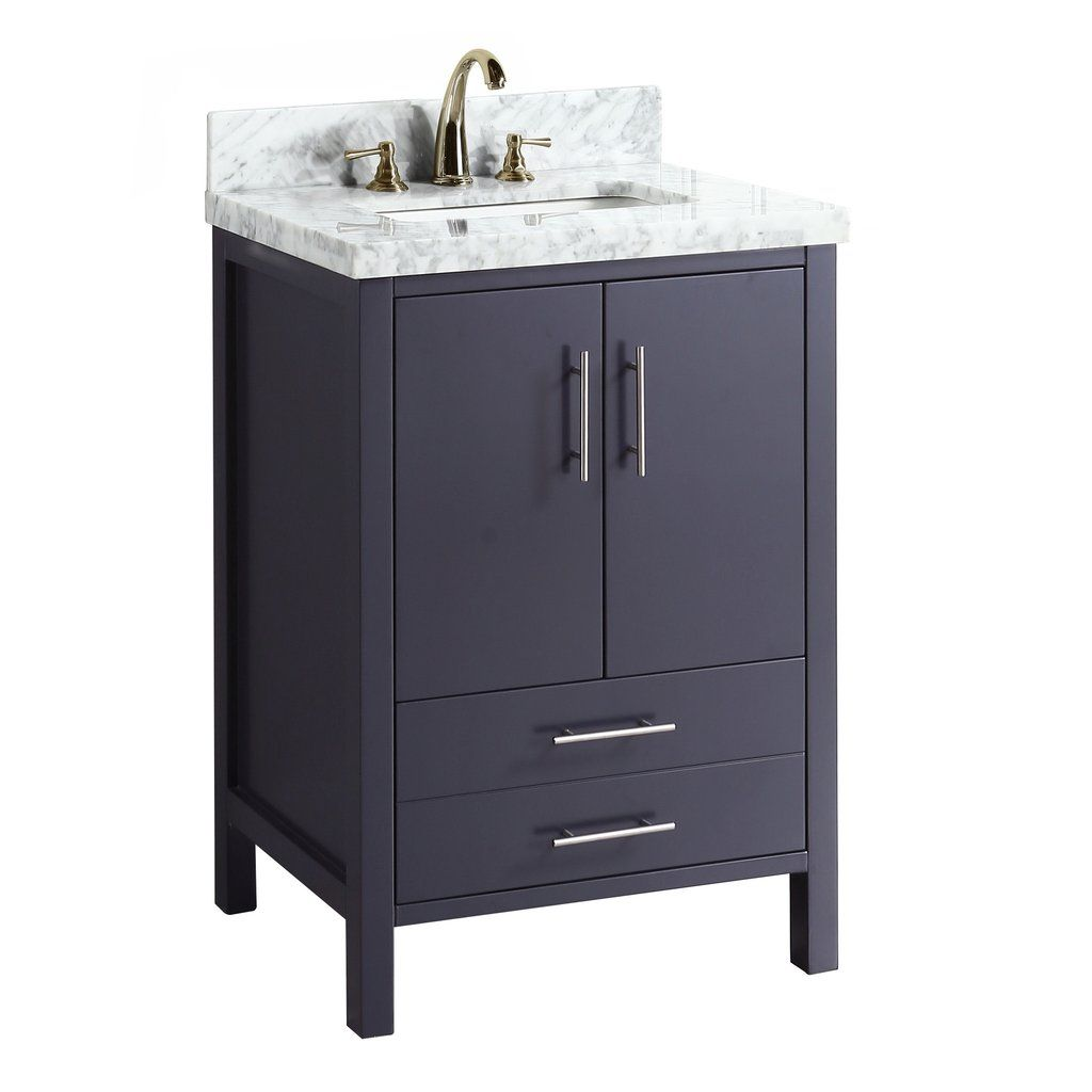 california 24-inch vanity (carrara/charcoal gray) (with