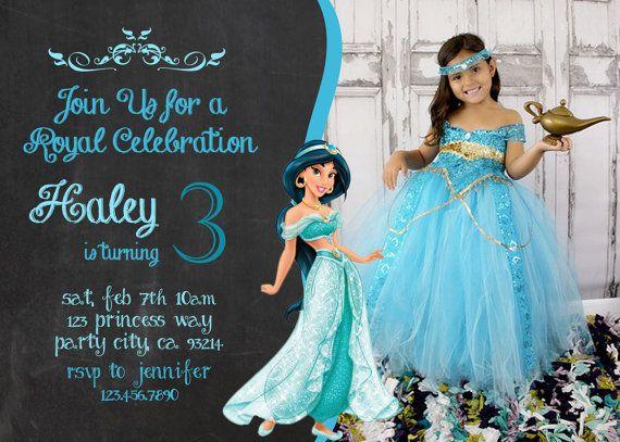 Princess Jasmine Disneys Aladdin invite birthday invitation DIY – Princess Jasmine Birthday Invitations