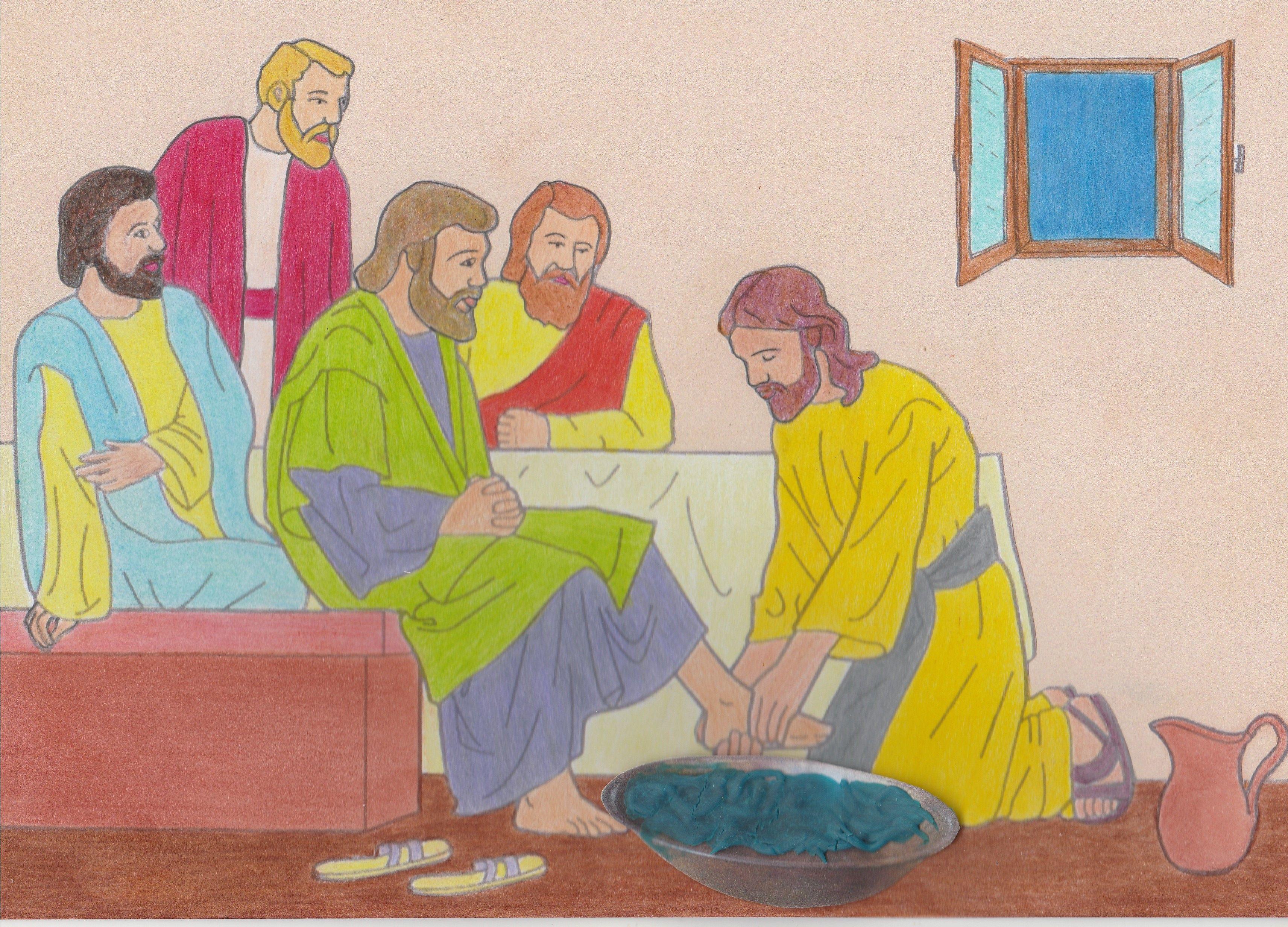 jezus wast de voeten de discipelen maak er een puzzel