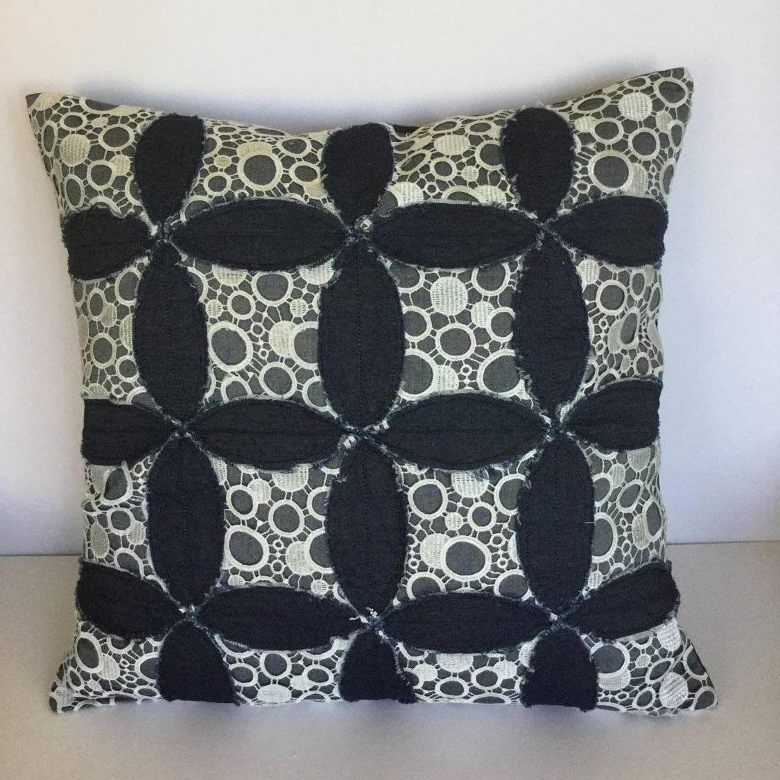 Hand appliqued patchwork decorative pillow by florafountain on etsy