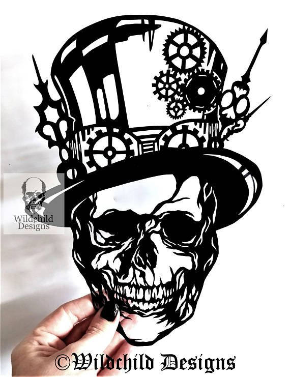 steampunk skull paper cutting template personal use vinyl template