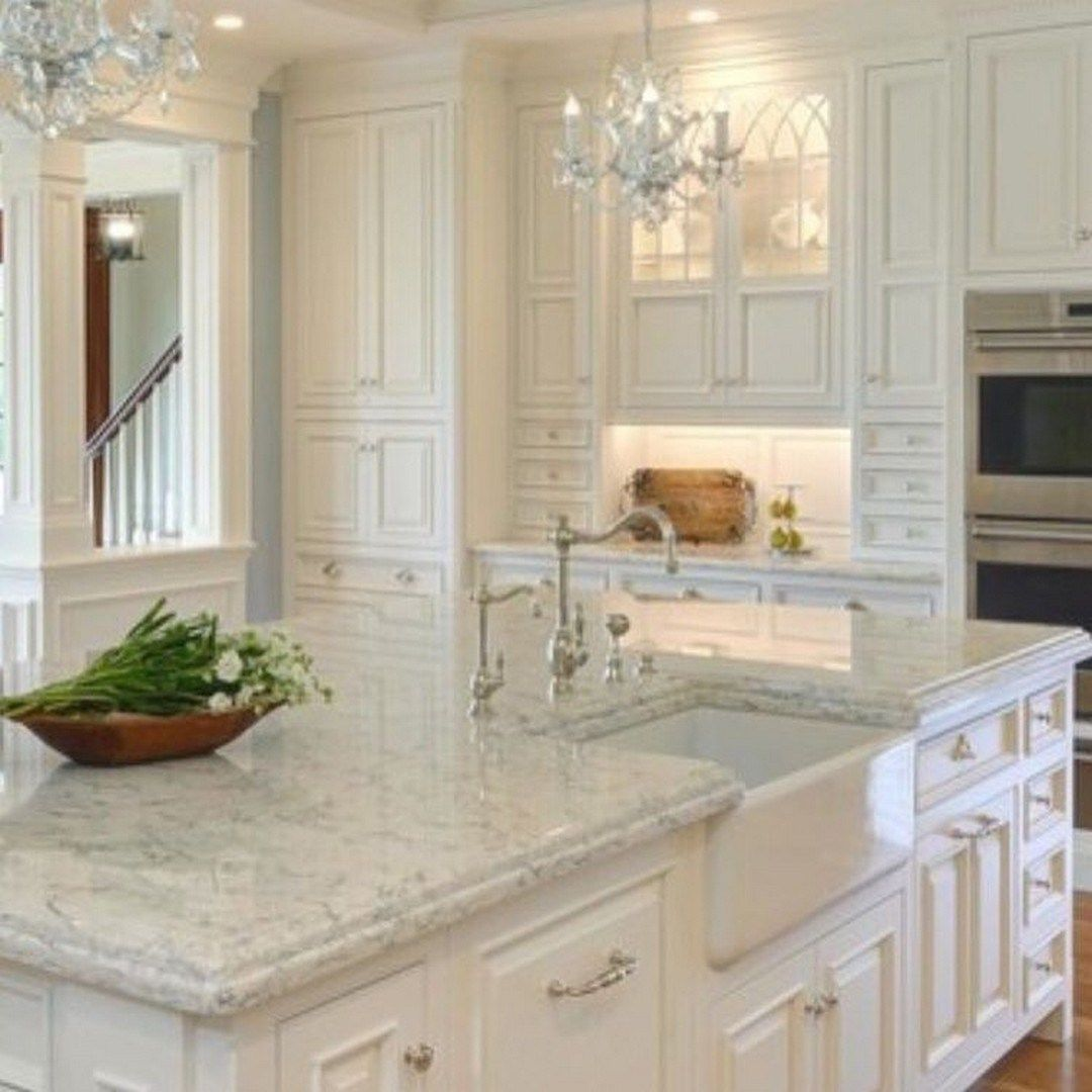 Rustic And Classic Glam Kitchen Decorating Ideas 3 Decomagz Antique White Kitchen Antique White Kitchen Cabinets White Kitchen Design