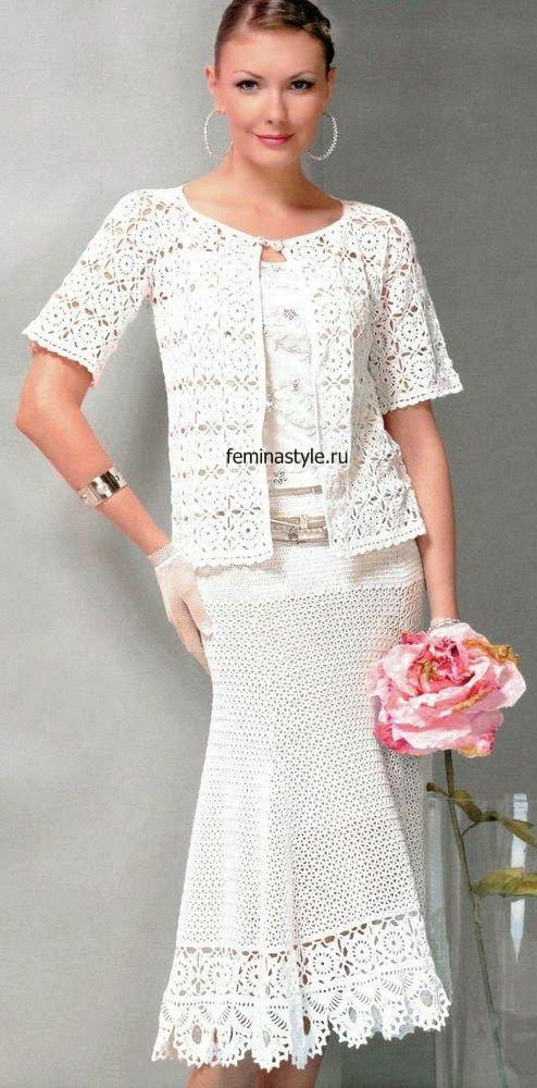 Irish crochet &: Белый костюм из ЖМ 559 NÁVOD