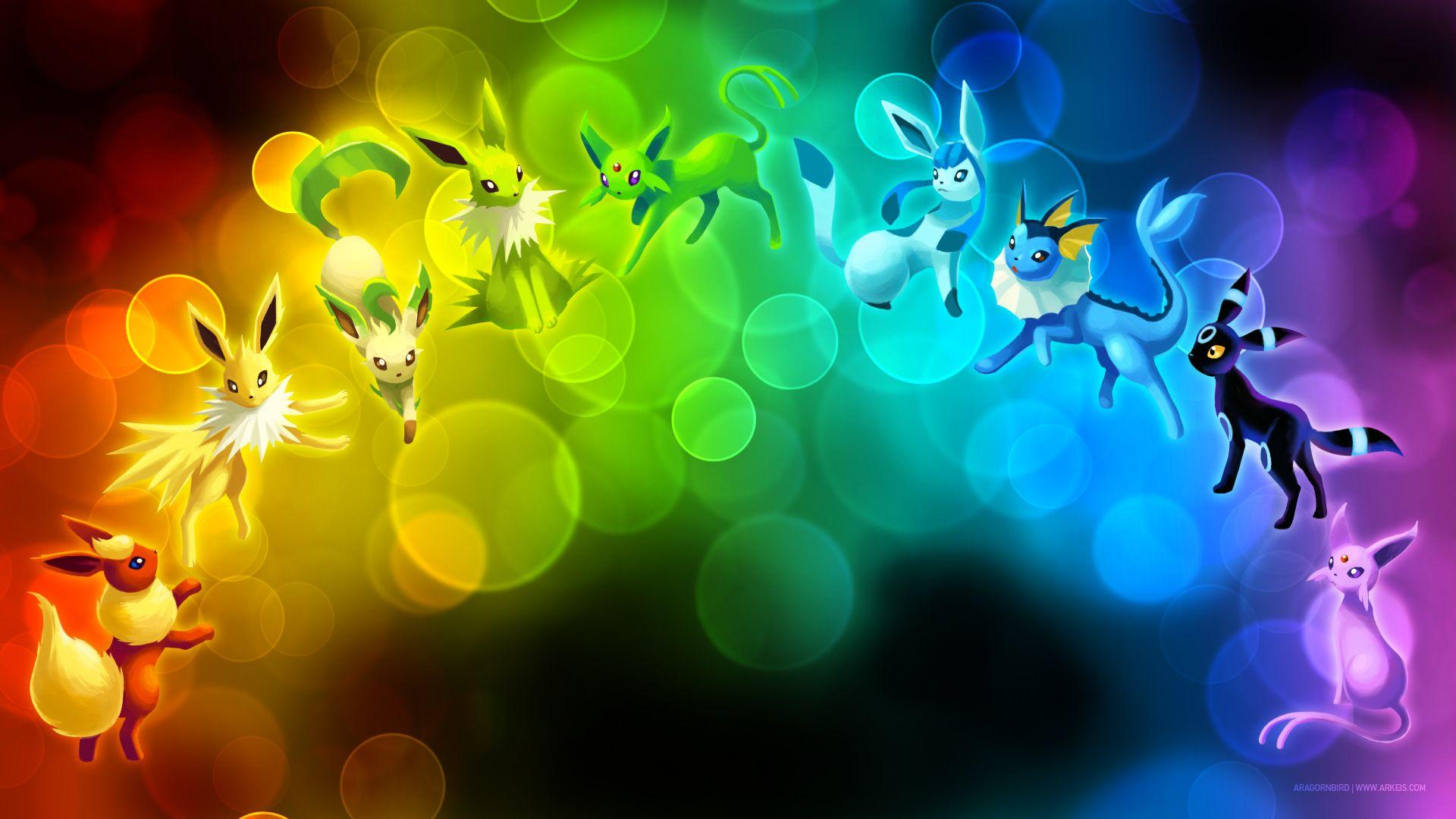 Wallpaper Eeveelution Rainbow By Arkeis Pokemon On Deviantart Eevee Wallpaper Pokemon Backgrounds Cute Pokemon Wallpaper
