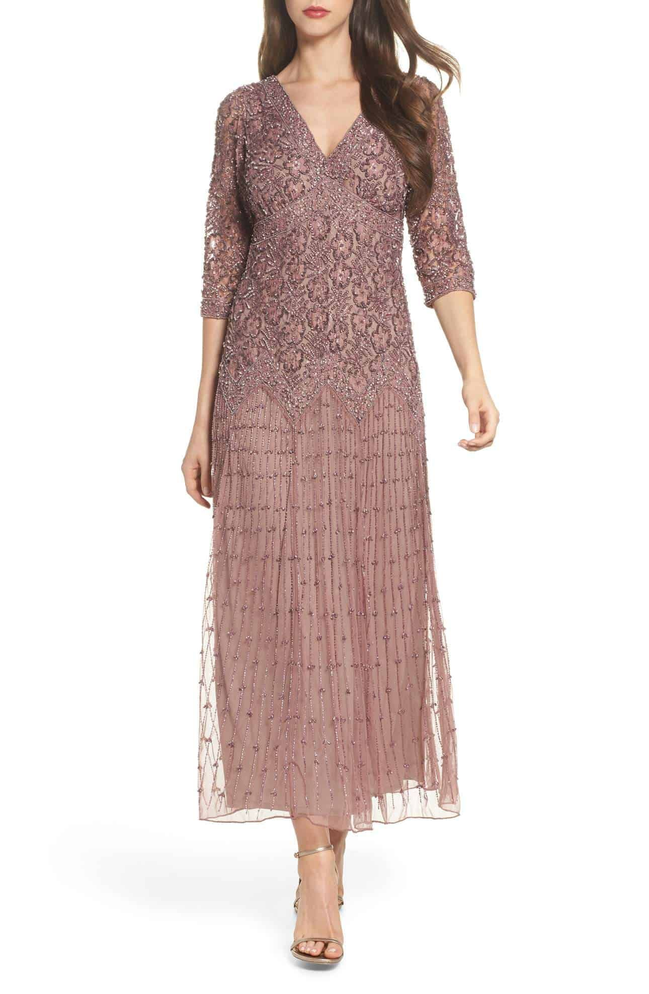 Long Sleeve Mother Of The Bride Dress Mauve Beaded Gown For Mother Of The Bride Or Groom Beaded Mesh Dress Mesh Dress Dresses