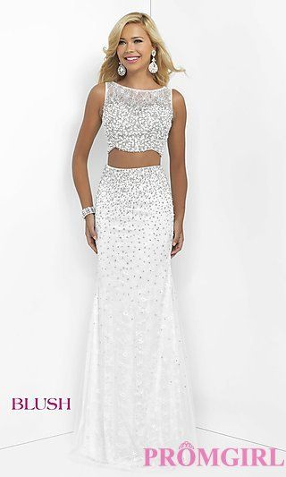 165f1f2286 Long Off White Sleeveless Two Piece Prom Dress by Blush at PromGirl.com