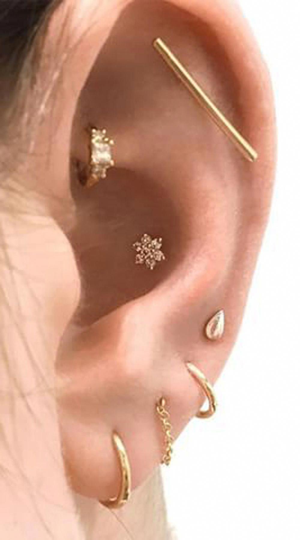 14k Yellow Gold Disk Design Heart Diamond Earrings Stud Post Studs
