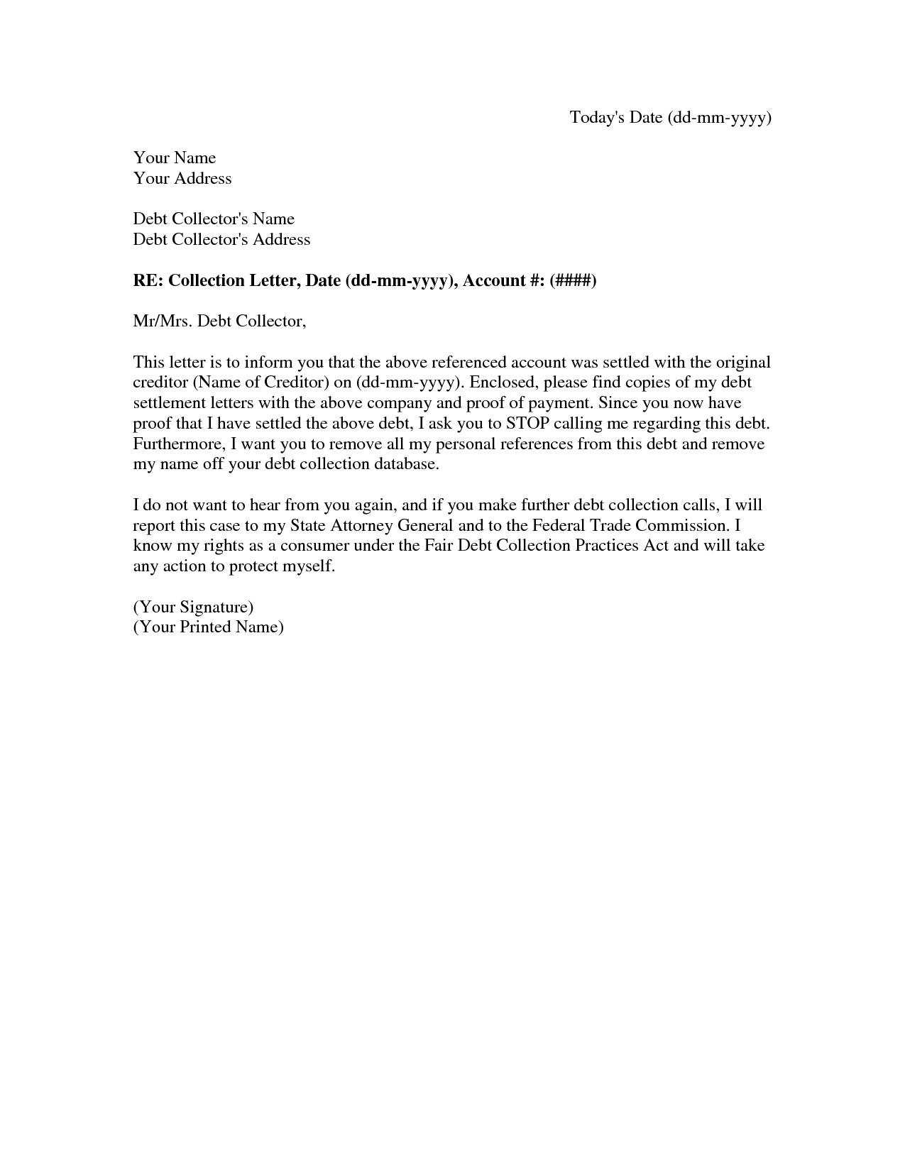Collection Settlement Letter  A Debt Settlement Agreement Letter
