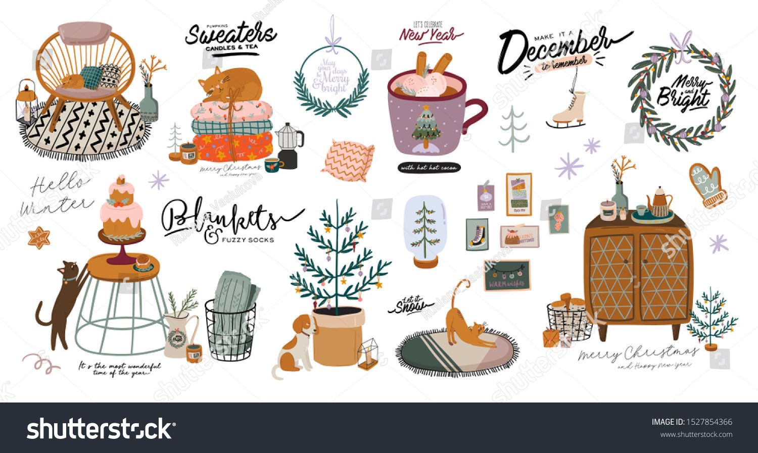 Scandinavian interior with December home decorations  wreath cat tree gift candles table Cozy Winter holiday season Cute illustration and Christmas typography in Hygge st...