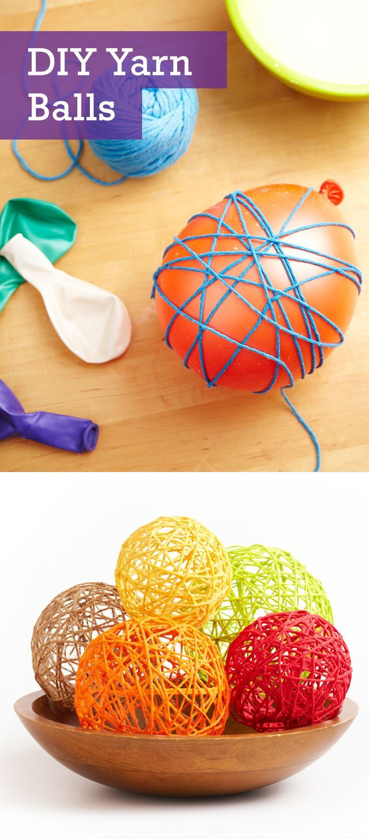 a festive touch to your home décor by crafting a few of these adorable DIY yarn balls. It's a fun yarn craft that everyone (even kids) can get involved with and is perfect for using up old or leftover yarn.