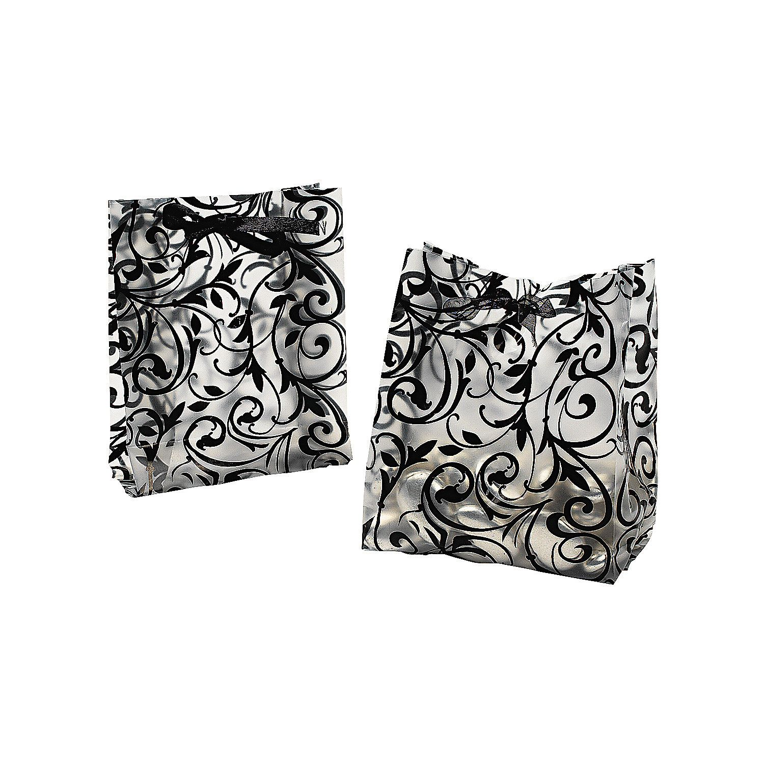 Frosted Black & White Wedding Cellophane Bags | Wedding bag ...
