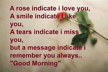 Good Mornig A Rose Indicate I Love You A Smile Indicate I Like You A Tears Indicate I Miss You But A Message Indicate I Remember You Always