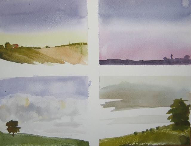 Paysage crayon aquarelle facile google zoeken aquarelle et peinture pinterest aquarelle - Paysage peinture facile ...