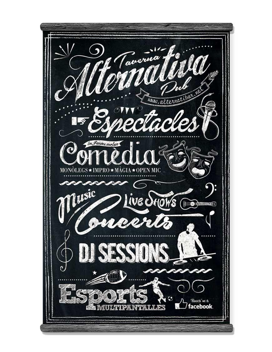 Pizarra de eventos para bar musical alternativa de barcelona dise o cartel pinterest - Pizarras de bar ...