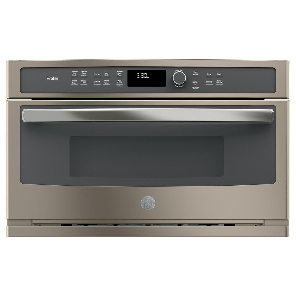 Ge Profile 30 In Electric Convection Wall Oven With Built In Microwave In Slate Fingerprint Resistant Pwb7030eles Convection Wall Oven Built In Microwave Microwave Convection Oven
