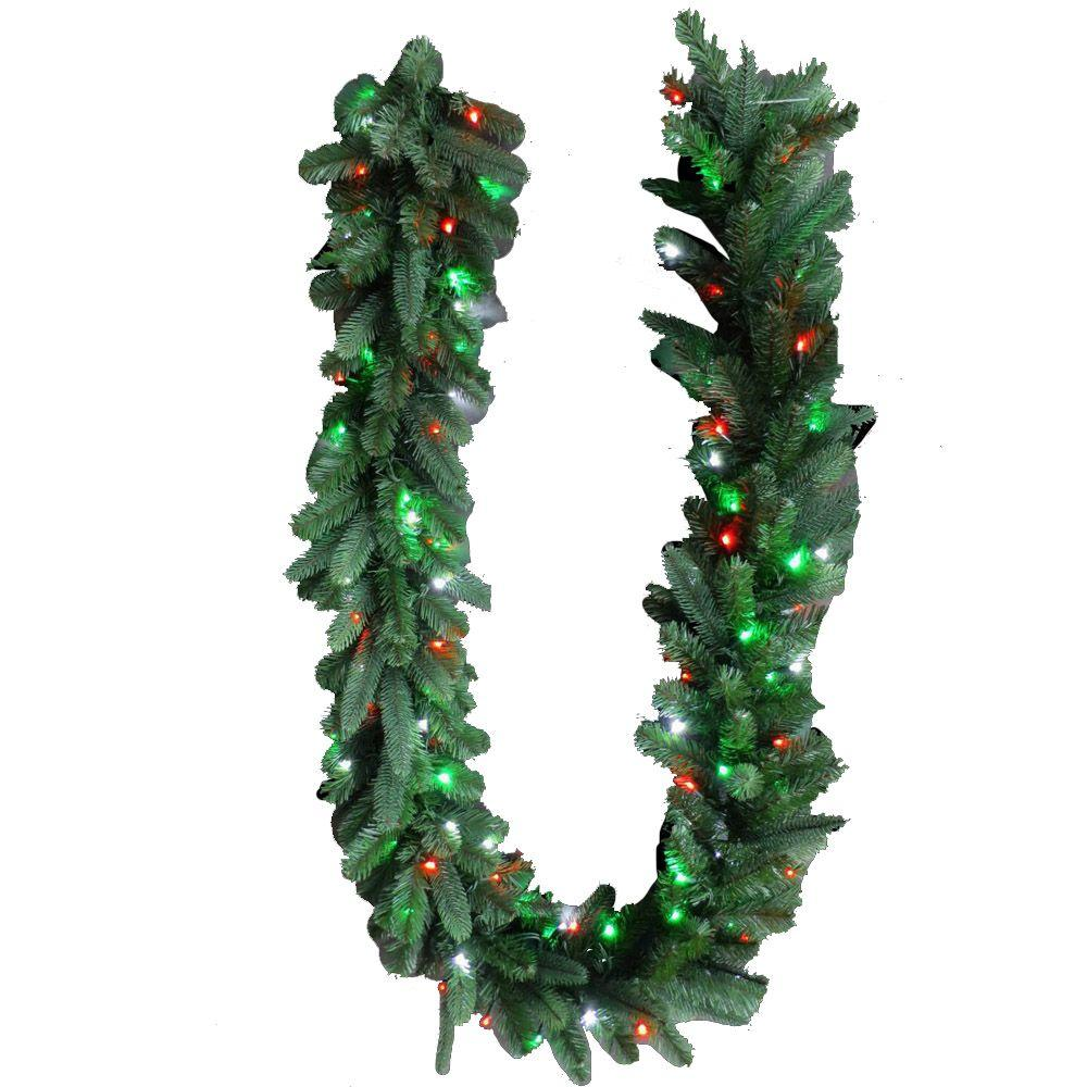 Home Accents Holiday 9 Ft Royal Grand Spruce Artificial Garland With Red Green Pure White Lights Products Artificial Garland White Light White Led Lights