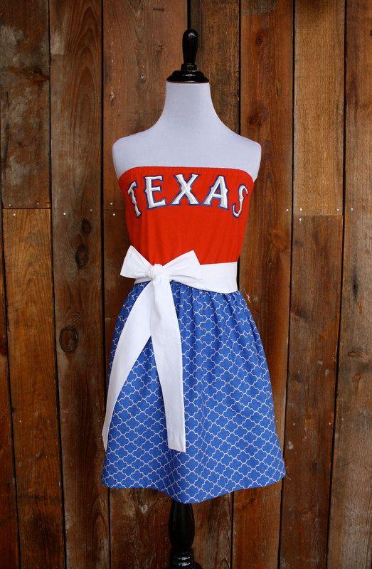 Texas Rangers Baseball Strapless Game Day Dress Size Medium Etsy Gameday Dress Texas Rangers Texas Rangers Baseball