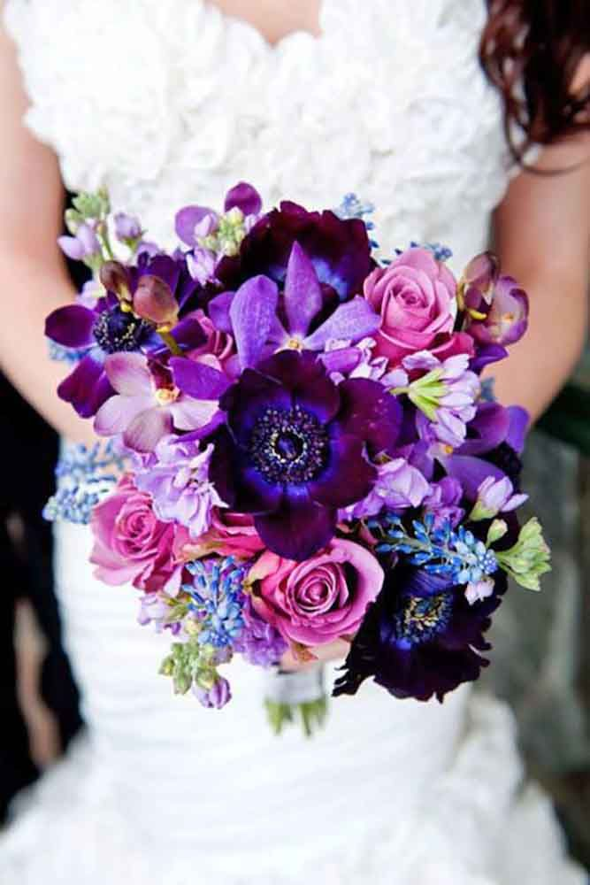 30 Purple Blue Wedding Bouquets