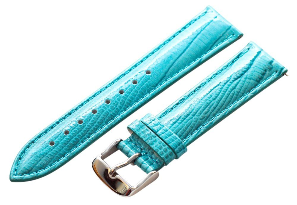 22mm 2 Piece Ss Leather Lizard Grain Turquoise Interchangeable Replacement Watch Band Strap
