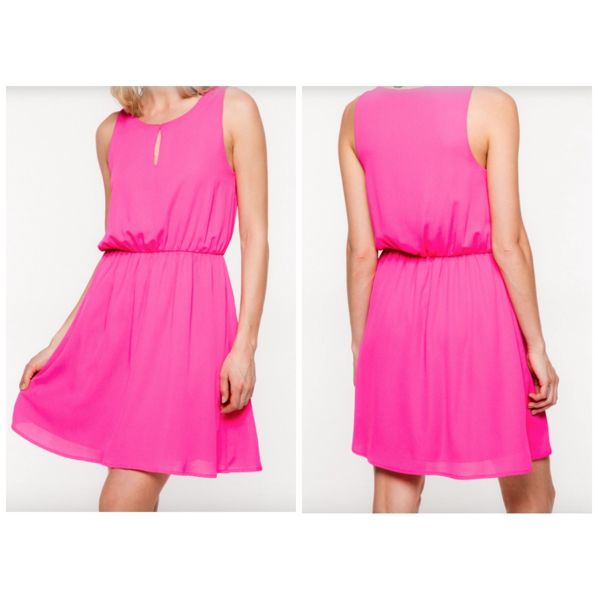 Solid Fuchsia Sleeveless Front Keyhole Dress