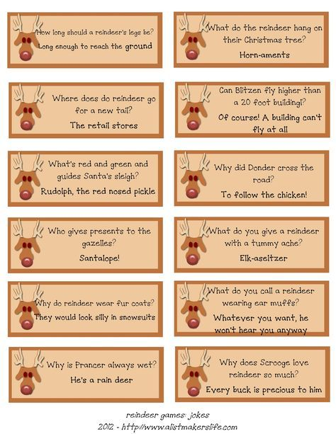 A List Maker\u0027s Life Reindeer Riddles Free Printable Christmas