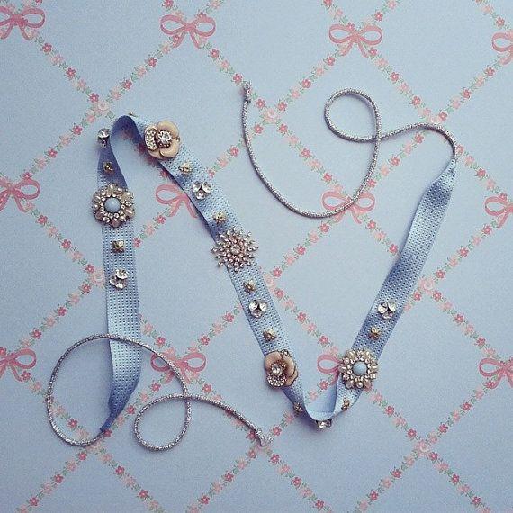Light Blue Jewel 1920 Gatsby Bridal Headband  Art por MSaHeadbands, $62.00