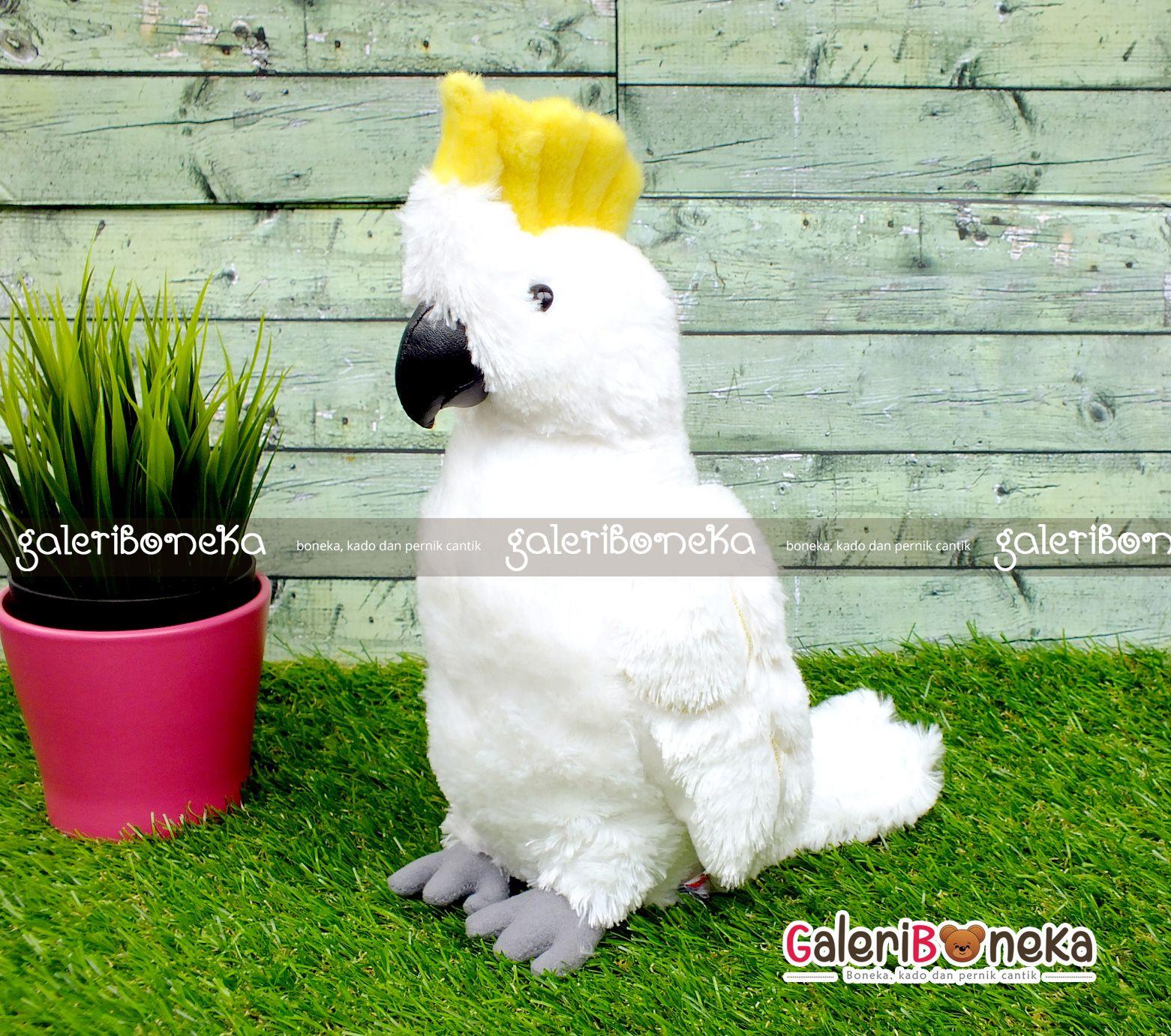 Boneka Burung Kakatua Jambul Kuning (Dengan gambar