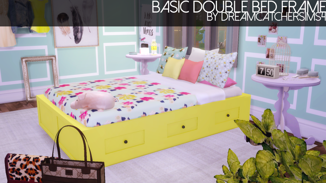 Basic Double Bed Frame Sims 4 beds, Sims 4 bedroom, Sims