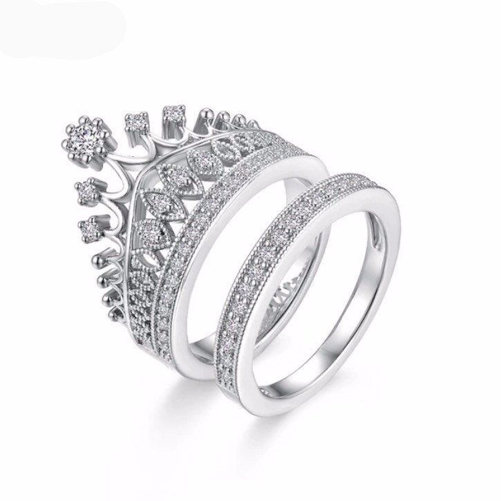 925 Sterling Silver Rodium Plated  Royal Queen Cross Women/'s ring with Cubic zerconia