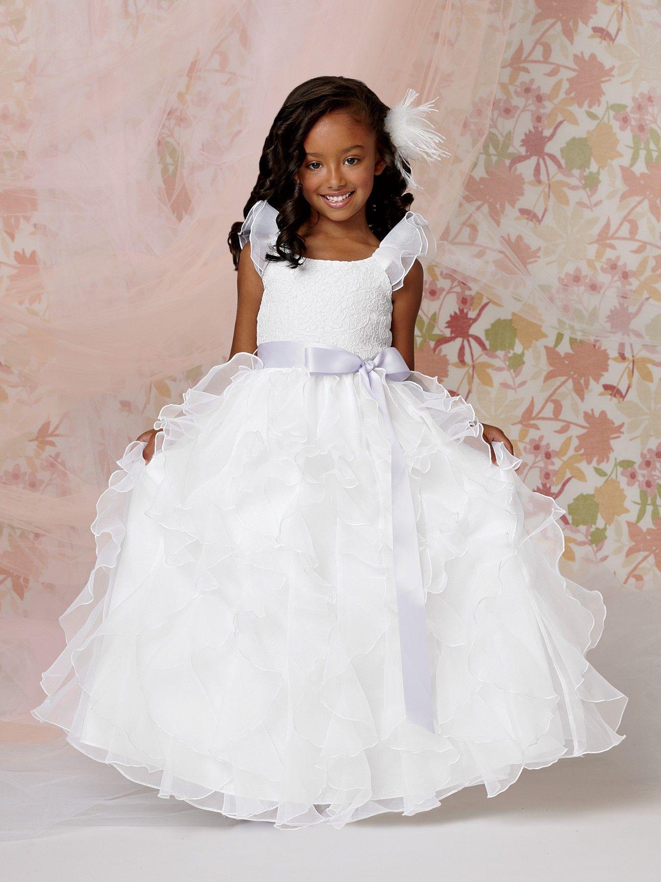 Puff sleeve ruffle skirt floor length lace bodice flower girl dress puff sleeve ruffle skirt floor length lace bodice flower girl dress with ribbon sash mightylinksfo