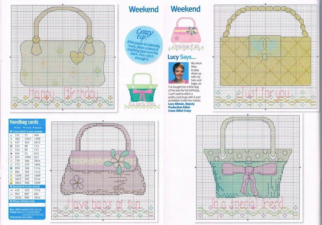 0 point de croix sacs pastel - cross stitch pastel bags