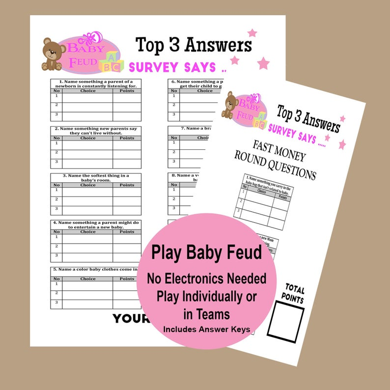 Baby Family Feud Game, Girl Baby Shower Trivia Game, Shower Activity, Couples Shower Games, Pink Baby Shower Game, Instant Download