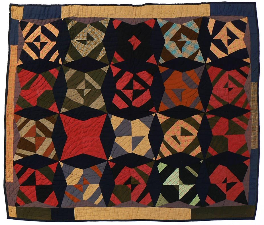 The dark blue background of this folk art quilt really make the ...