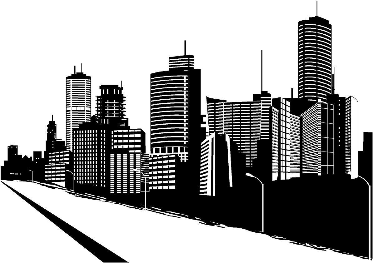 Векторный рисунок города черно белый