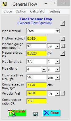Compressed Air Calculation Pipe Sizes