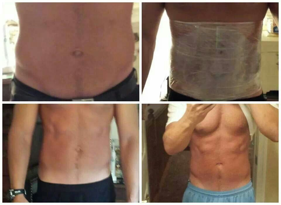 "Awesome Testimony!   ""Here are my personal results I have gotten from using the Wraps! I absolutely could not believe it!!! I like to stay fit eat right and be as healthy as I can, but I am 42 years old and I couldn't seem to get rid of the last little bit of fat on my stomach. The first after picture is 9 hours later and the last picture in the blue pants are 72 hours later"""