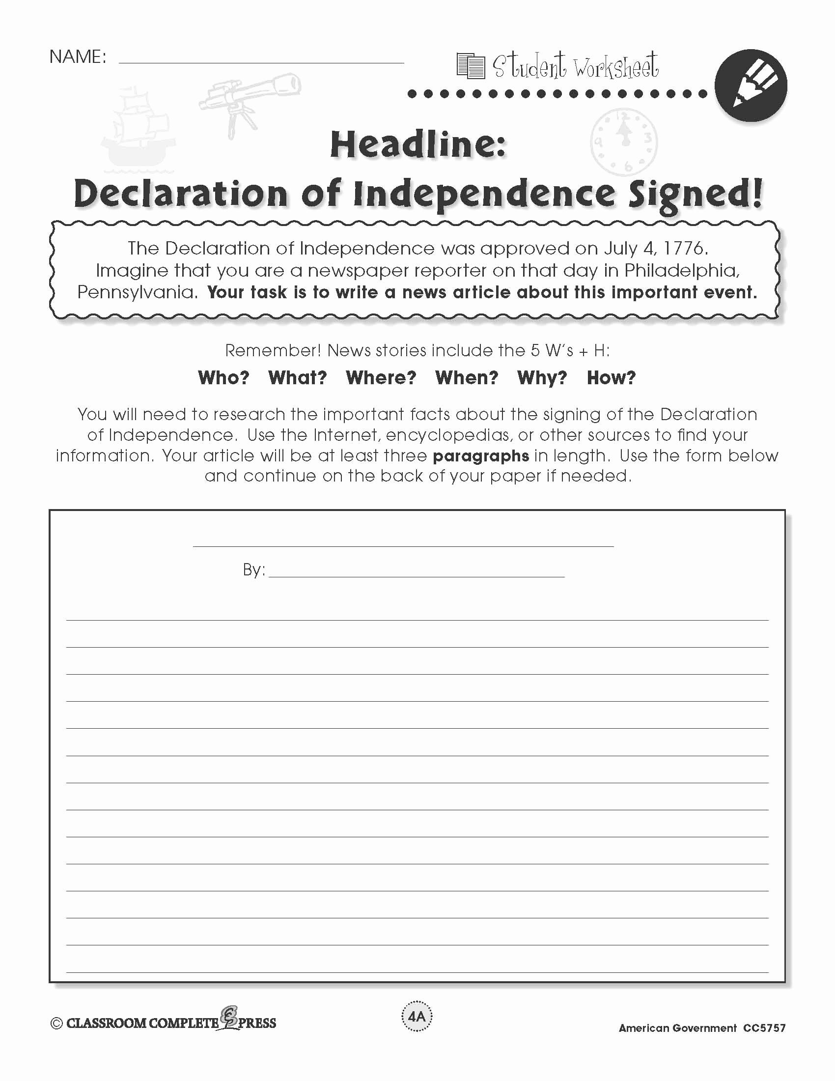 Articles Of Confederation Worksheet New Write A Newspaper