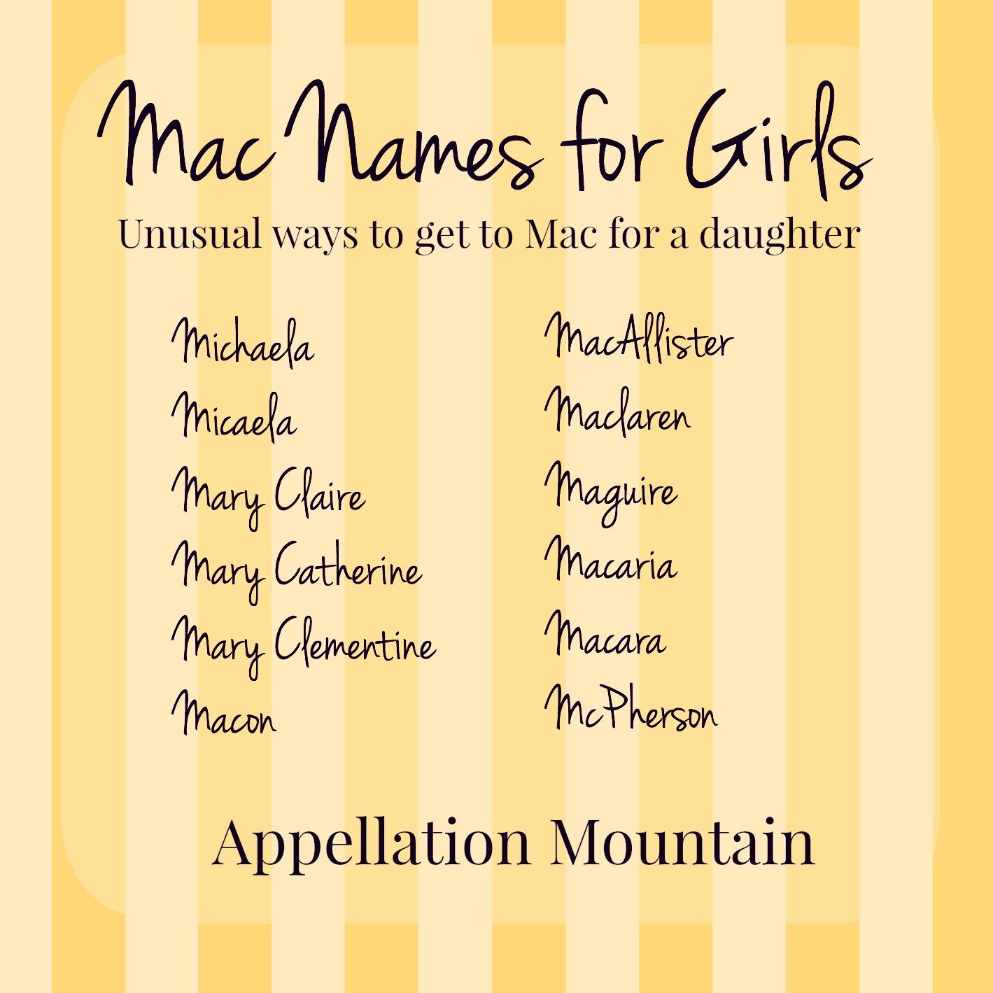Lets say you love the nickname Mac - but its a girl! Is