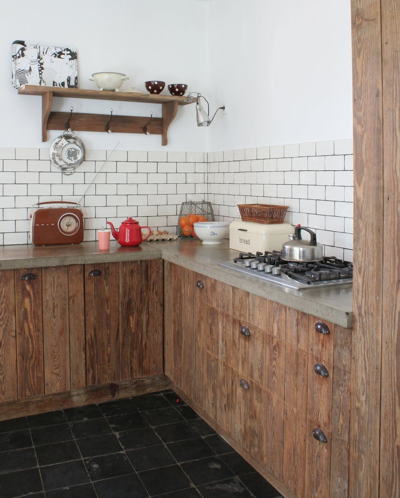 Reclaimed Wood Cabinets And Subway Tile Backsplash