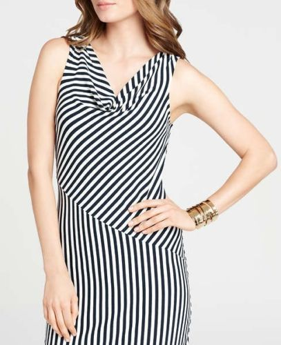 Ann Taylor Striped Cowl Neck Dress in Navy, Size XS -- with a stunning optical effect
