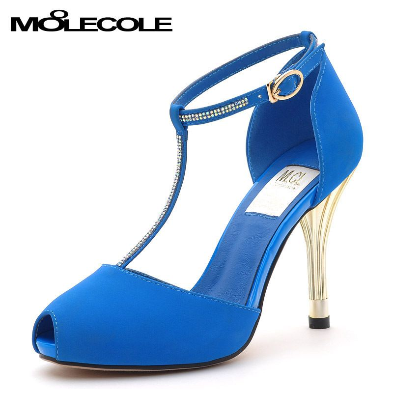 Aliexpress.com : Buy Free Shipping !!! MOOLECOLE 2013 New Arrival Blue PU Leather Women High Heels,Women Peep toe Sandals,T Strap Sandals from Reliable strap heel sandals suppliers on Guccn $46.48