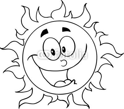 Outlined Happy Sun Cartoon Character Risunki Dlya Raskrashivaniya