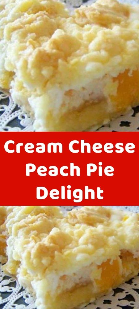 Cream Cheese Peach Pie Delight  INGREDIENTS:  1 package of white or yellow dry cake mix  1/3 cup butter, room temperature  2 large eggs, divided  29 ounce can of peach slices, drained  8 ounces of Cream Cheese, room temperature  1/3 cup of sugar  1 #creamcheeserecipes
