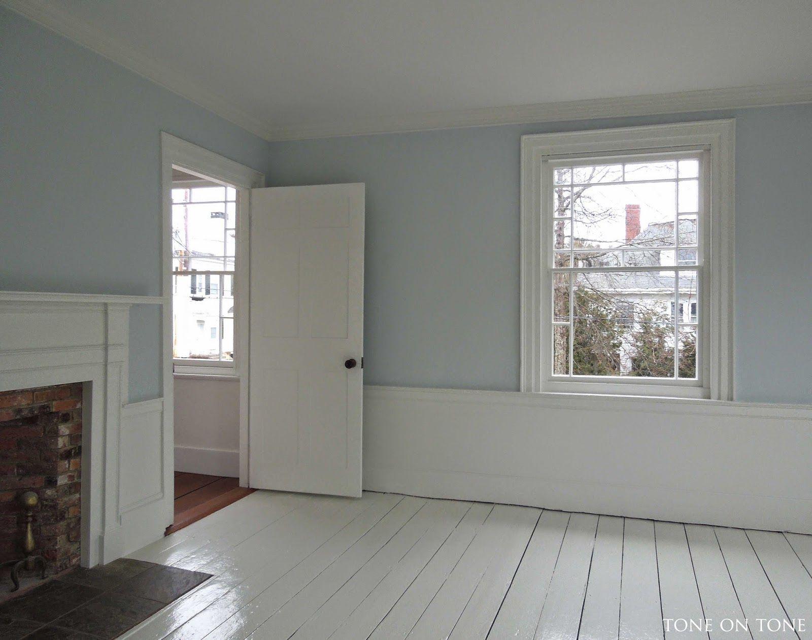 walls: benjamin moore gray sky - a true sky blue. this room gets