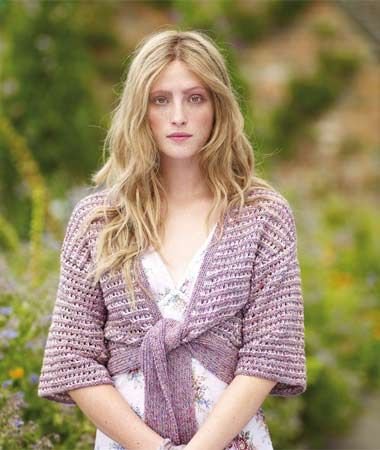 Woman Wearing Lacy Tie Front Knit Get The Lacy Look Free Knitting