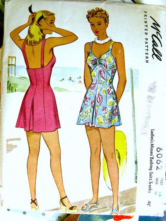 Swimsuit Pattern UNCUT Vintage 1940's McCall Pattern by anne8865