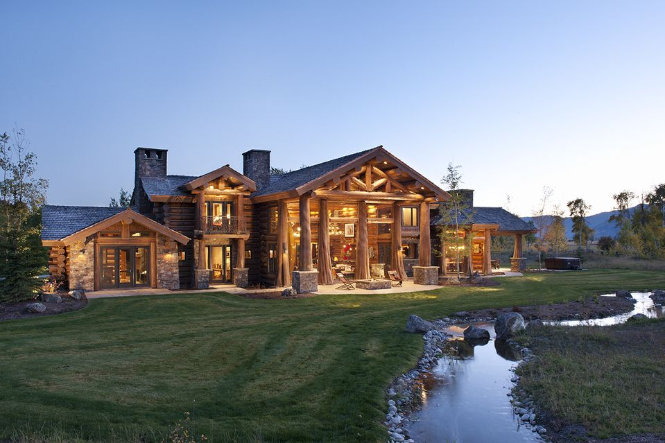 Luxury log cabin homes wsj mansion idaho logs and for Luxury log home