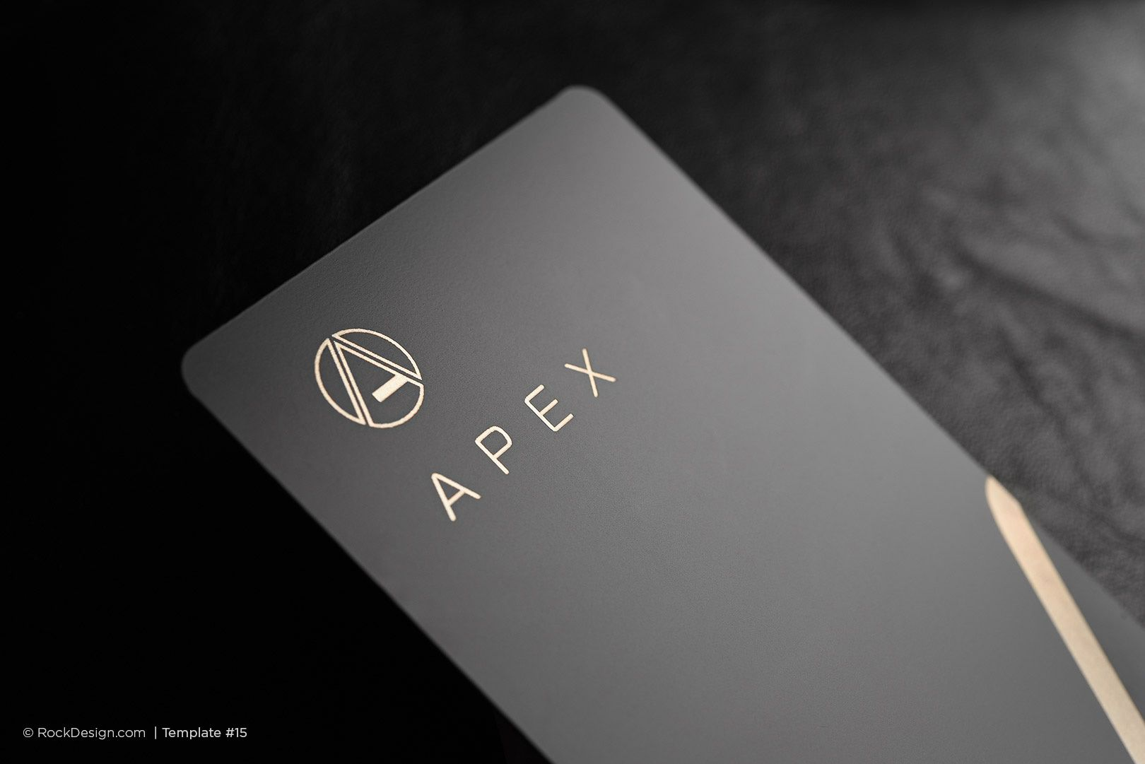 Modern simple vertical laser engraved black metal business card ...