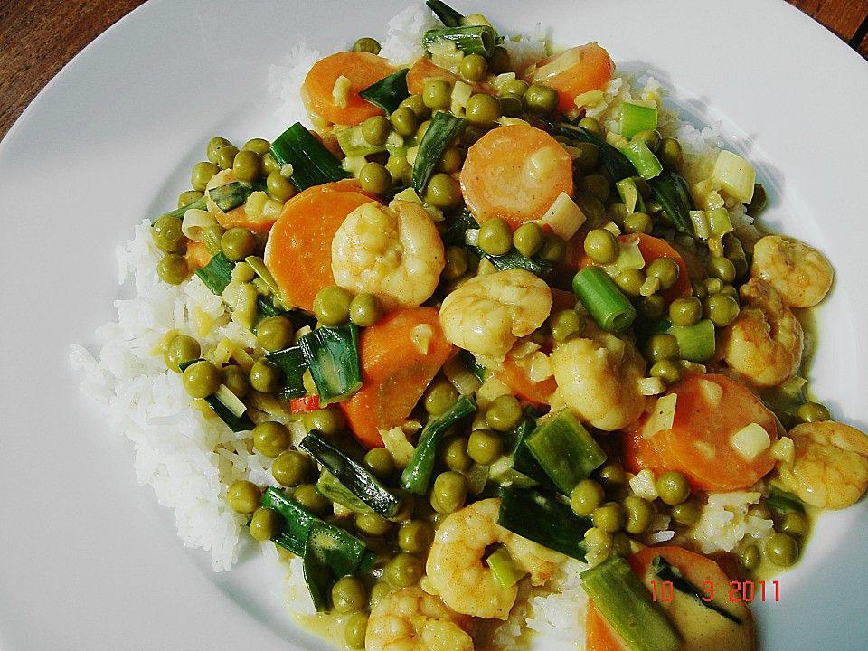 Garnelen - Curry mit Erbsen und Möhren, ein schönes Rezept aus der Kategorie Gemüse. Bewertungen: 6. Durchschnitt: Ø 3,8.